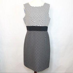 Tahari Black & White Dot Print Sleeveless Dress 14